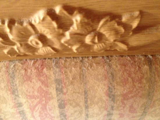 Belan Bach Lodges: This is the thick dust on the headboard