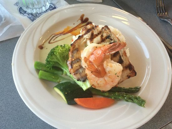 Brennecke's Beach Broiler: Charbroiled Ono with Shrimp.