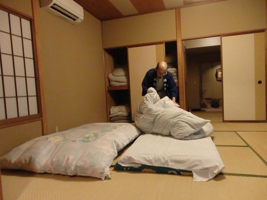Yokikan: Surprisingly comfy bedding is Japanese style -- on the floor!
