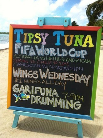 Tipsy Tuna: Check out our chalk board of info on the beach, sidewalk & road!