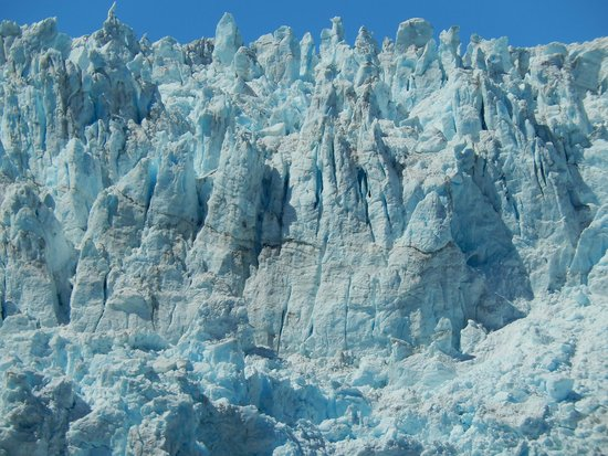 Holgate Glacier: A close-up of the fascinating ice spires and seracs waiting to topple into the sea