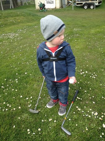 Great Orme Family Golf: My grandson thinking about his shot