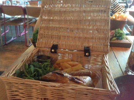 The Refinery: Chicken and chips in a basket with aioli mayo