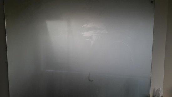 Aloha Lodge: The steamy bathroom mirror.