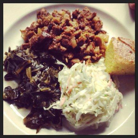 Rain Restaurant & Bar: Whole hog roast BBQ plate, pork bbq, slaw, collards, cornbread.