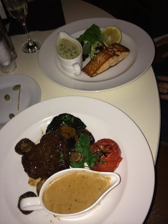 Divino: steak and salmon dish
