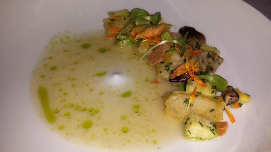 Bacchanalia: Agnolotti (ricotta  dumplings) with Squash Blossoms, Shiitakes