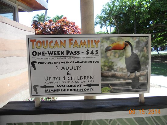 Honolulu Zoo : toucan family pass for 1 week