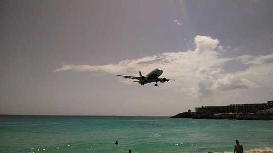 Playa Maho: Incoming view of a landing plane from the beach