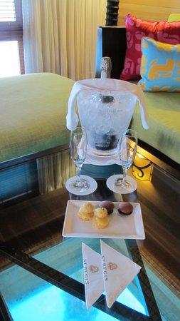 The St. Regis Bora Bora Resort: Champagn and treats