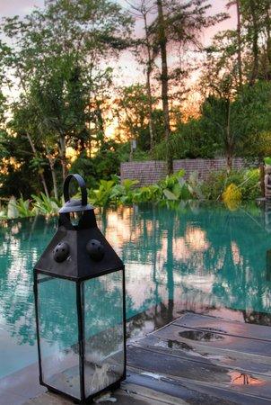 Oxygen Jungle Villas : Sunset at pool