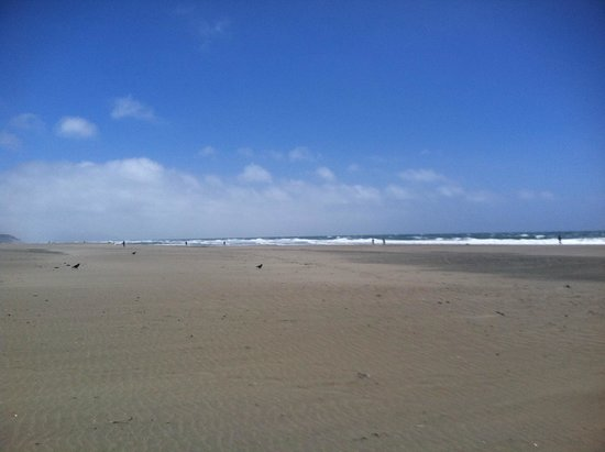 Ocean Beach: The very wide beach. It takes a long time to get from your car to the water. Quite a walk.