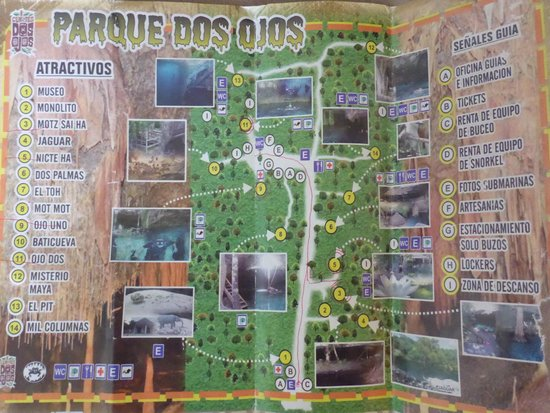 Cenotes Dos Ojos: The park's map