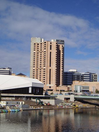 InterContinental Adelaide: View from oval side of river. Arts Centre adjacent
