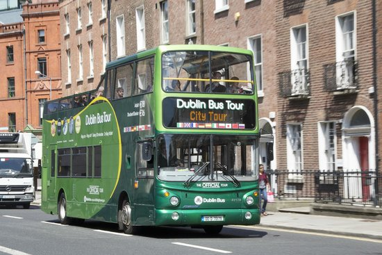 DoDublin: The Green Bus on Clare St., between Trinity College and Merrion Square.