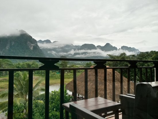 The Elephant Crossing Hotel: Misty morning from the room balcony
