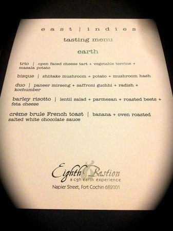 Eighth Bastion Hotel : Vegeterian Tasting  Menu