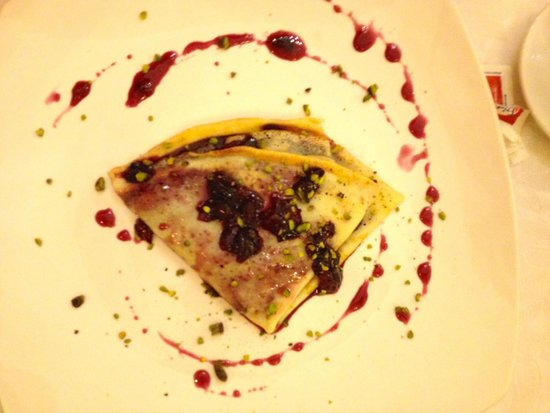 Ristorante Il Castello di Bacco: Crep de cereza sin gluten
