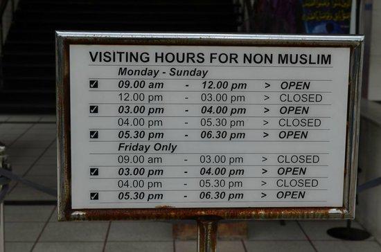 National Mosque (Masjid Negara): Öffnungszeiten
