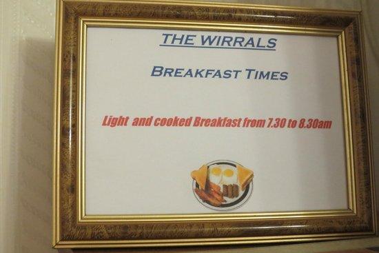 The Wirrals: Hinweisschild im Zimmer
