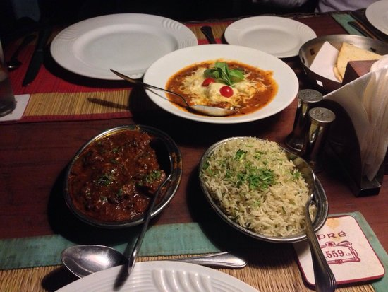 Upre: Smoked lamb. Jeera (spiced with fennel ) rice and Lababdar Paneer.