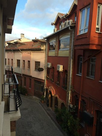 Berce Hotel: View from one of the Balconies down the quiet street