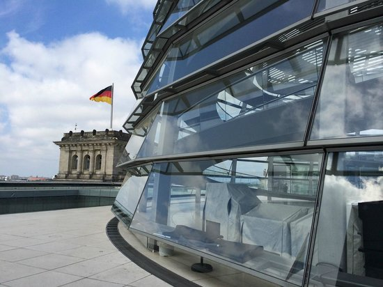 Reichstag Building: One of the corner towers, and the dome.