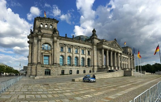 Reichstag Building: The imposing facade of the Reichstag.