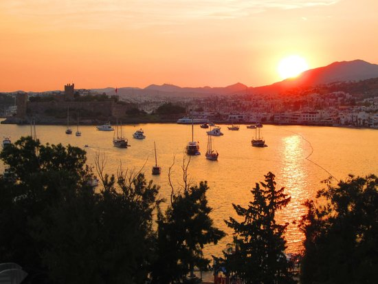 Sunset from the rooftop pool at Angora Hotel Bodrum