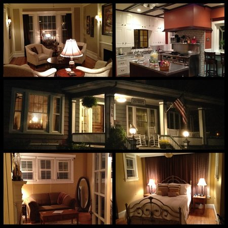 Hawthorne Park Bed and Breakfast: This is a composite of the entire BnB; bottom 2 photos are the bed and sitting room of the Bento