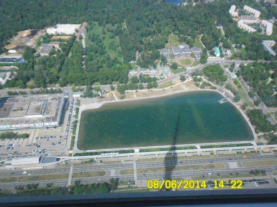 Ostankino TV Tower: Вид на останкинский пруд с высоты 337метров