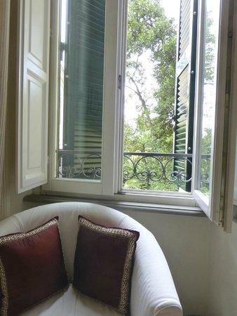 Palm Gallery Hotel: La fenêtre de la chambre N°1 (premier étage) donne dans la verdure du jardin