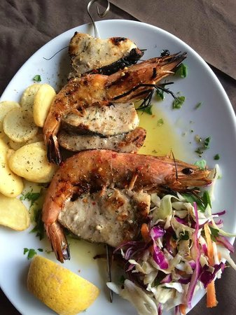 The Olive Lounge: fish and prawn skewers