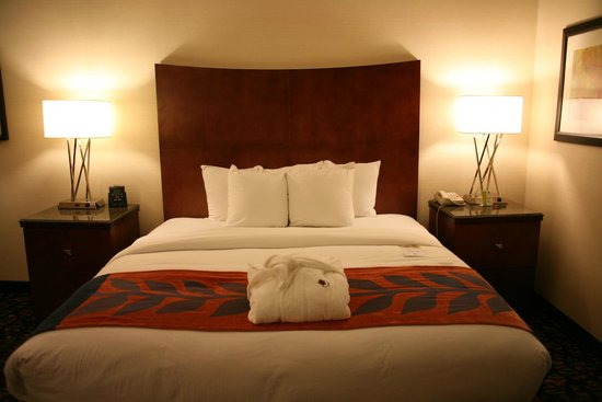 DoubleTree by Hilton Nashville-Downtown: King size bed -pillows can be opened to normal size
