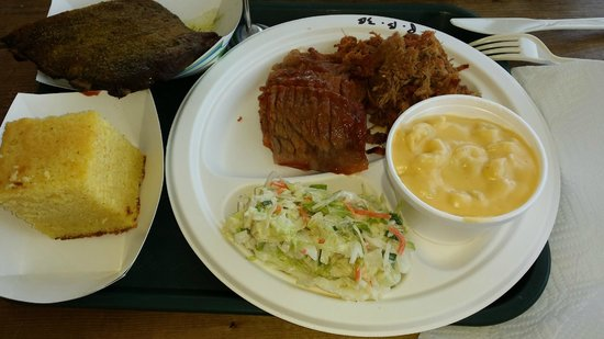 The Barbeque Exchange: 3 Meat platter with Mac and Cheese, Cole Slaw and Cornbread, with a side of Fried Green Tomatoes