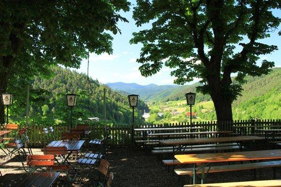 Beer garden at Schloss Hornberg Hotel