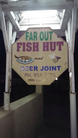 Far Out Fish Hut: signage