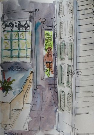 Calabash Luxury Boutique Hotel: Pen and wash sketch from balcony looking into suite.