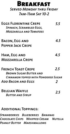 Mod's Coffee and Crepes : Breakfast is served from 7-11am