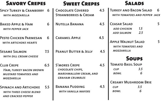 Mod's Coffee and Crepes : Our Menu