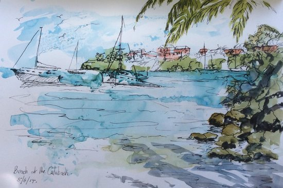 Calabash Luxury Boutique Hotel: View from the beach. Pen and wash.