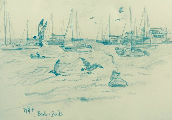Calabash Luxury Boutique Hotel: Pencil drawing. View from the beach.