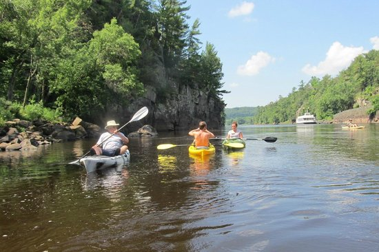 Saint Croix Falls, WI: Kayaking on the St. Croix, just beneath Interstate Park