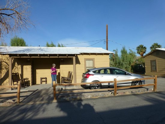 Furnace Creek Inn and Ranch Resort: Our Cabin and Car - Note the afternoon sun.