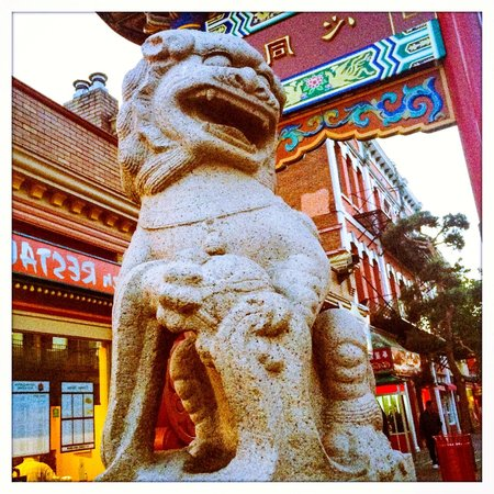 Chinatown: The stone lion at the entrance