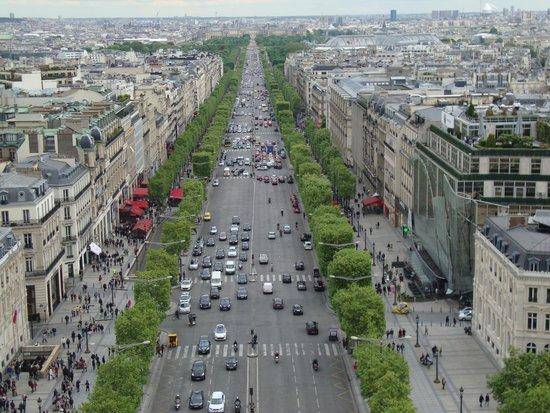Champs-Elysees: top view from Arc de Triumph