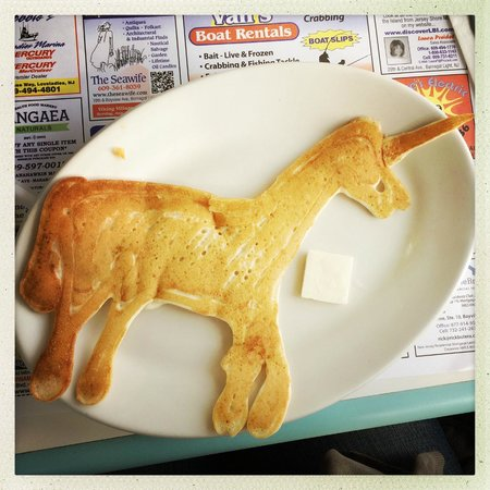 Mustache Bill's Diner: My daughter asked for a unicorn shaped chocolate chip pancake. Awesome!