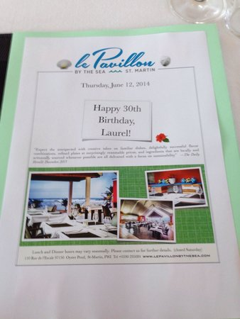 Le Pavillon by the Sea : Above and beyond for my sisters birthday. Check out the custom menus