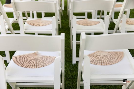 Antigua Villa Santa Monica: Lawn near the pool; chairs offered by hotel for weddings