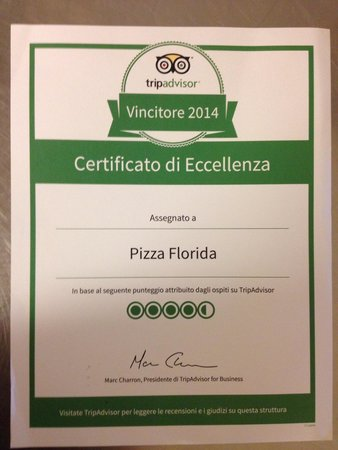 Pizza Florida: Premio di eccellenza